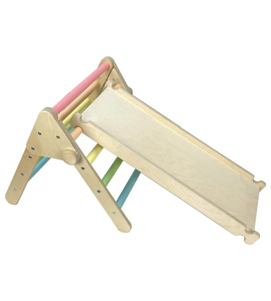 Nursery Pikler inspired Triangle rainbow and climb and slide by Ligneus Play at Nurture Collective