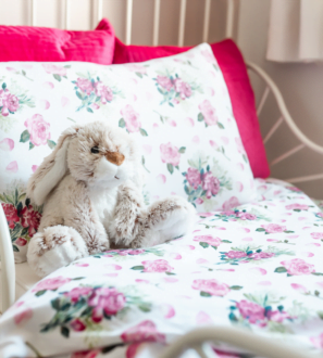 Pink Roses Toddler Duvet bedding set by Gilded Bird at Nurture Collective