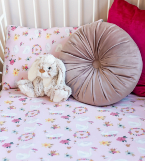 Swans on Pink Toddler Duvet organic cotton bedding set by Gilded Bird at Nurture Collective