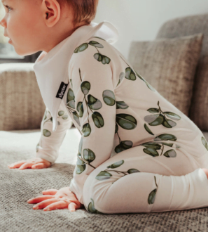 Zipster Greenery Baby Grow at Nurture Collective