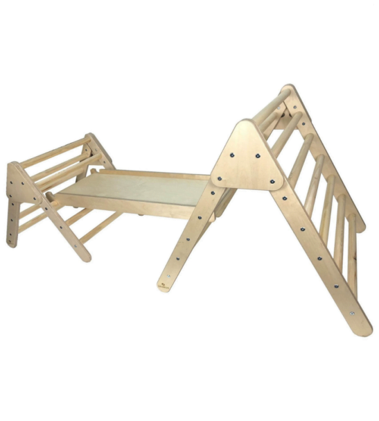 Junior Pikler InspiredTriangle Climbing frame with handles and ladder by Ligneus Play at Nurture Collective